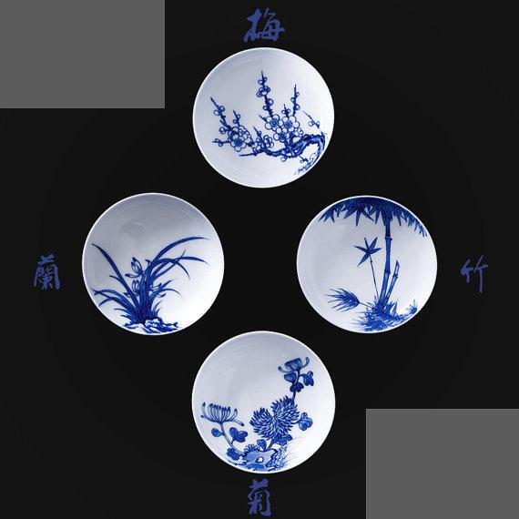 美しいBlueおよびWhite Porcelain Tea Cups