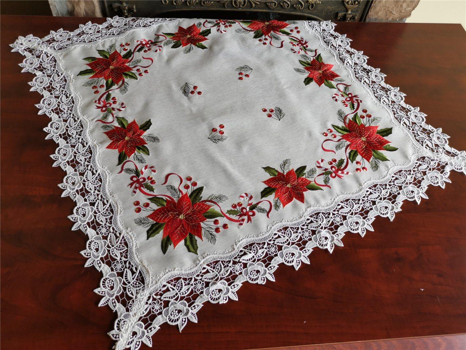 Bordados de moda Christams Poinsettia Lace Toalha de mesa