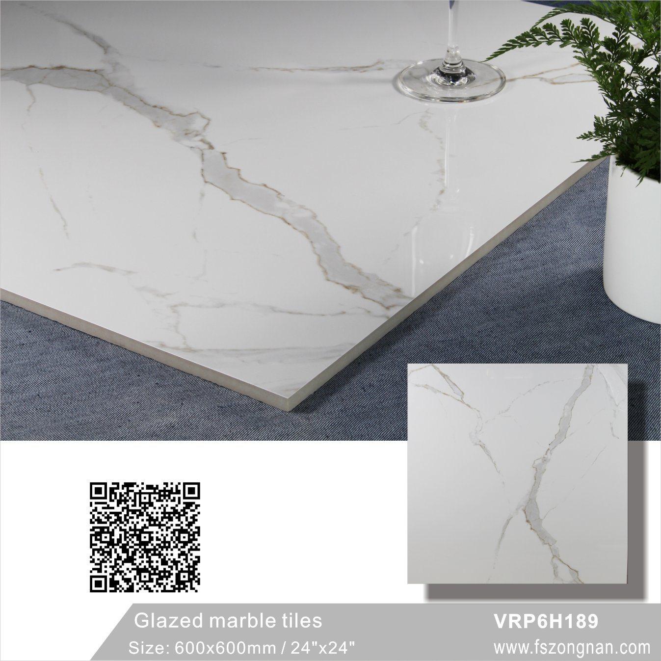 Vitrage de marbre blanc Carara poli pour carrelage de sol en porcelaine de matériaux de ...