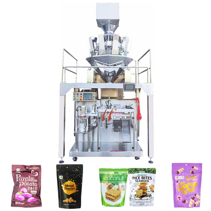 곡물/빵 부스러기/부피가 채워진 음식/치킨 에센스/고기 볼 멀티 헤드 웨이거 자동 주입 밀봉 포장 기계