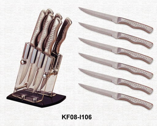 Messer-Satz des Steak-6pcs mit Acrylstandplatz (KF08-I106)