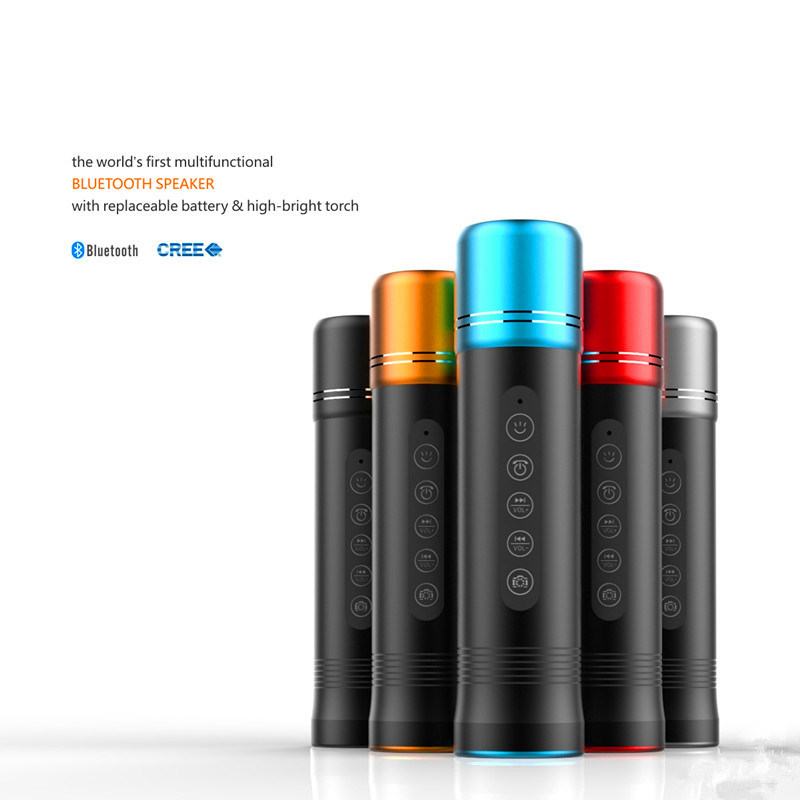 CREE R3 Highlight LED Flashlight mit Bluetooth Speaker (Replaceable Battery)