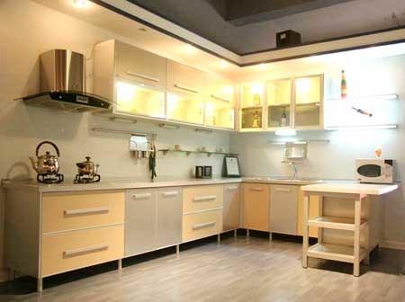 Moderna cocina de melamina en forma de l gabinete agk 028 for Cocinas modernas pequenas en forma de l