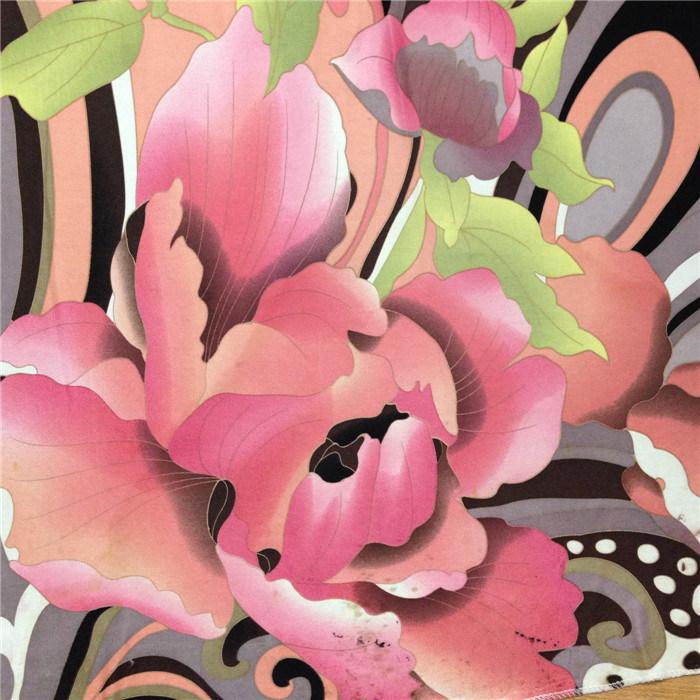 Imprimé de fleurs de soie rouge vif Jersey