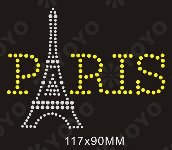 Heißes Verlegenheitrhinestone-Übergangsmotiv-Wort Paris