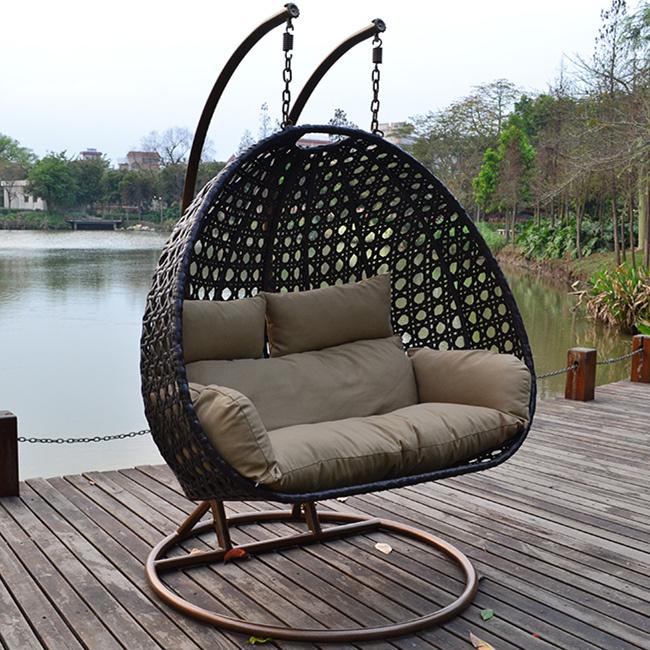 Al aire libre de mimbre de ca a silla colgante del for Sillas colgantes para jardin