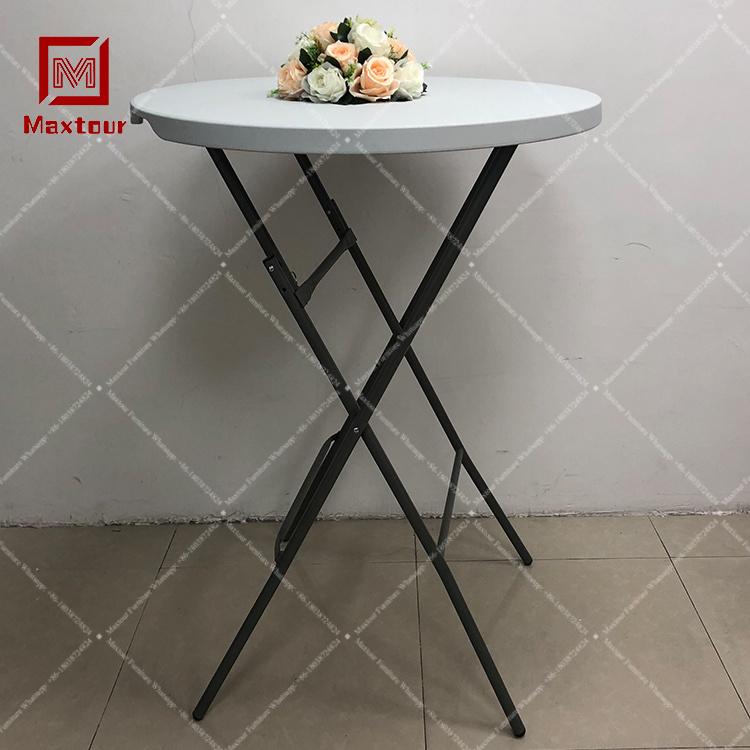 Alta Banqueta redonda Mesa de plástico branco mesa dobrável