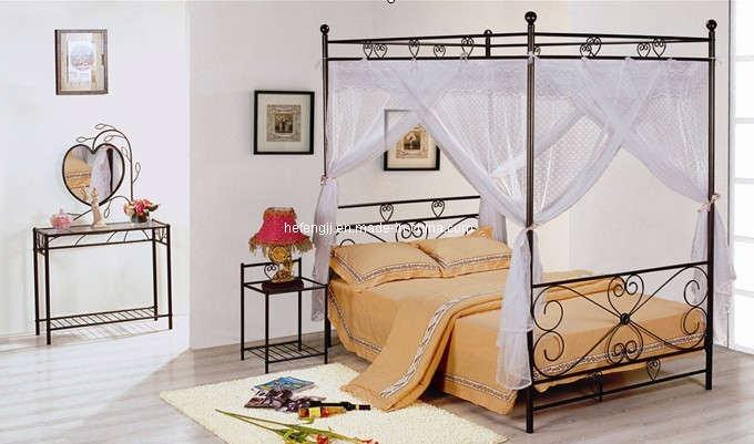 Venta caliente Metal doble cama con dosel de cama de acero (HF042 ...