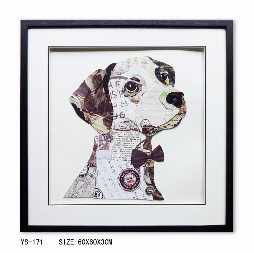 Foto de Pintura al óleo enmarcada PS perro hecho a mano sobre lienzo ...