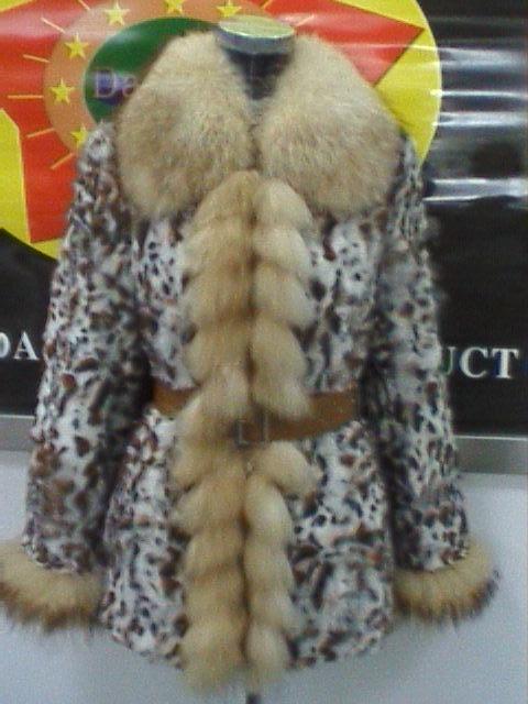 Mulheres de peles de coelho cubra com a Fox Fur manguito e dianteiro (A-009)