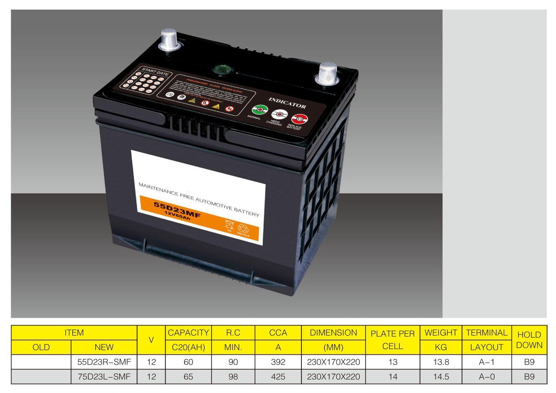 Batterie automobile 55D20r-MF, 55D20L-MF