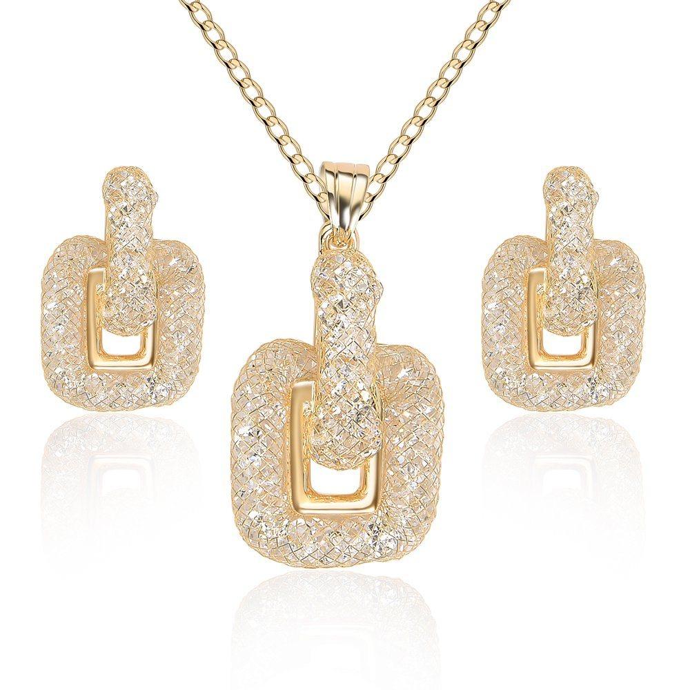 La Plaza de cristal de la moda de alta calidad Conjunto de joyas de oro