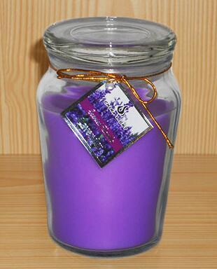 明確なガラス容器の紫色の香料入りのワックスの蝋燭