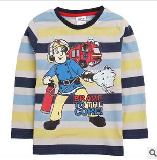 2014 年少年消防士長袖ストライプの新秋 プリント T シャツ子供服レンダー Unlined Upper Garment T シャツ