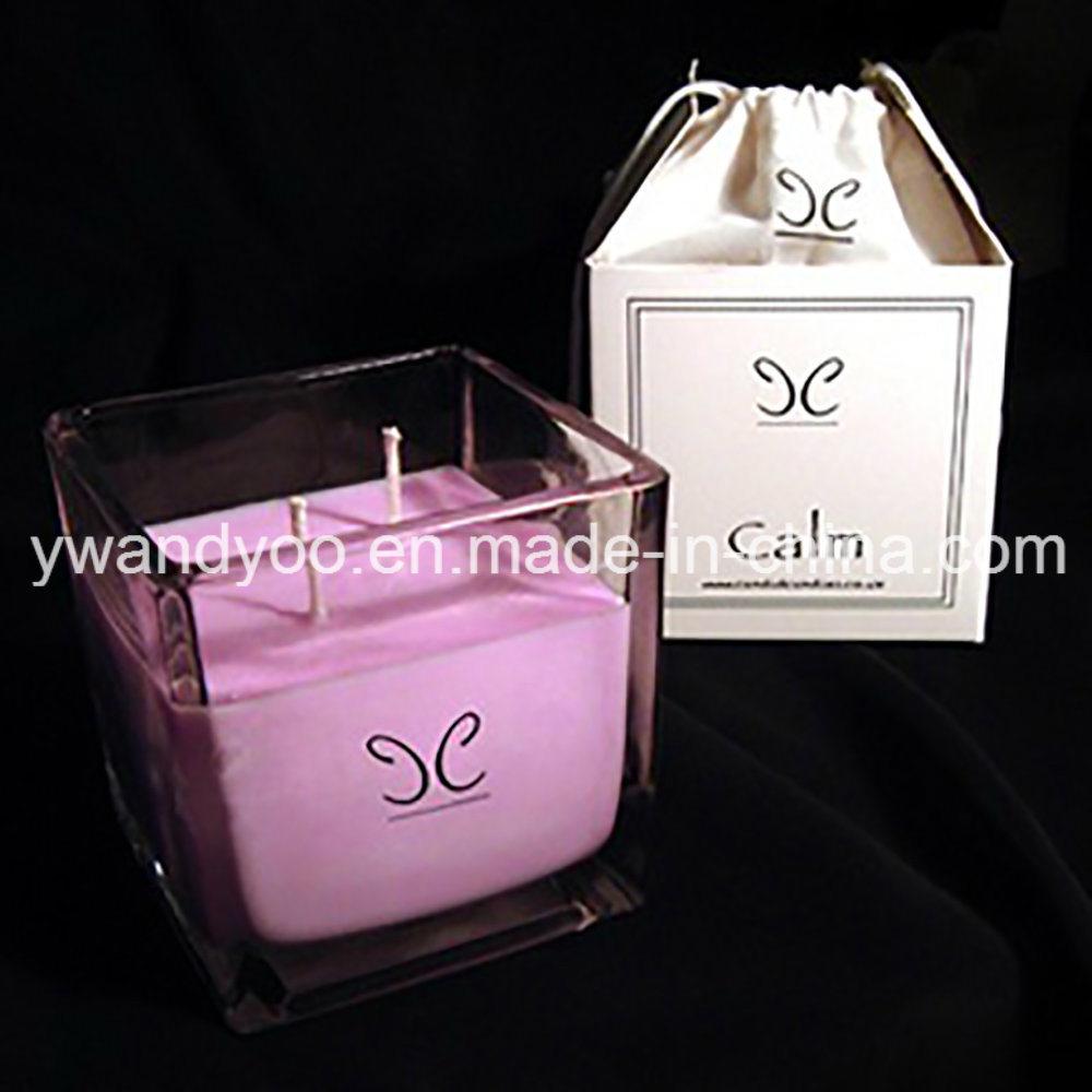 Candela profumata del regalo di cerimonia nuziale del vaso del quadrato della soia con la casella