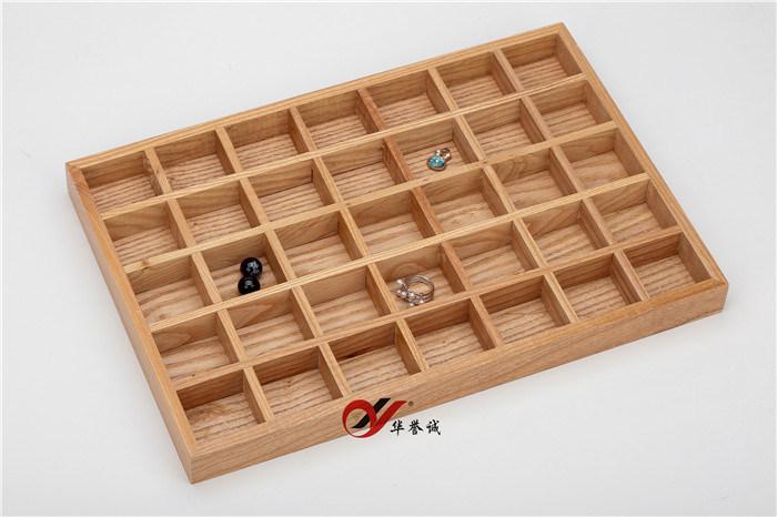 단색 목재/목재 귀금속 디스플레이 트레이/케이스/박스/오거나이저(7 * 5 그리드)