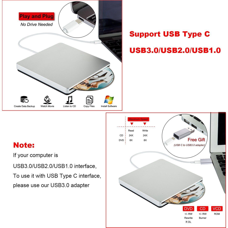 Giocatore dell'azionamento di External DVD per Mac/PC/Laptop (grigio)