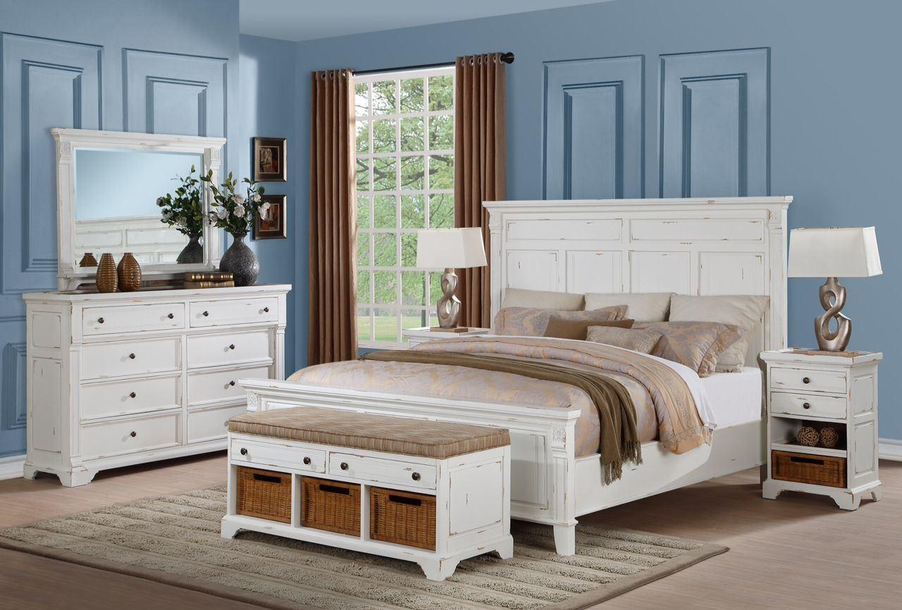 Blanco antiguo panel Reina cama de madera de la junta de la cabeza ...