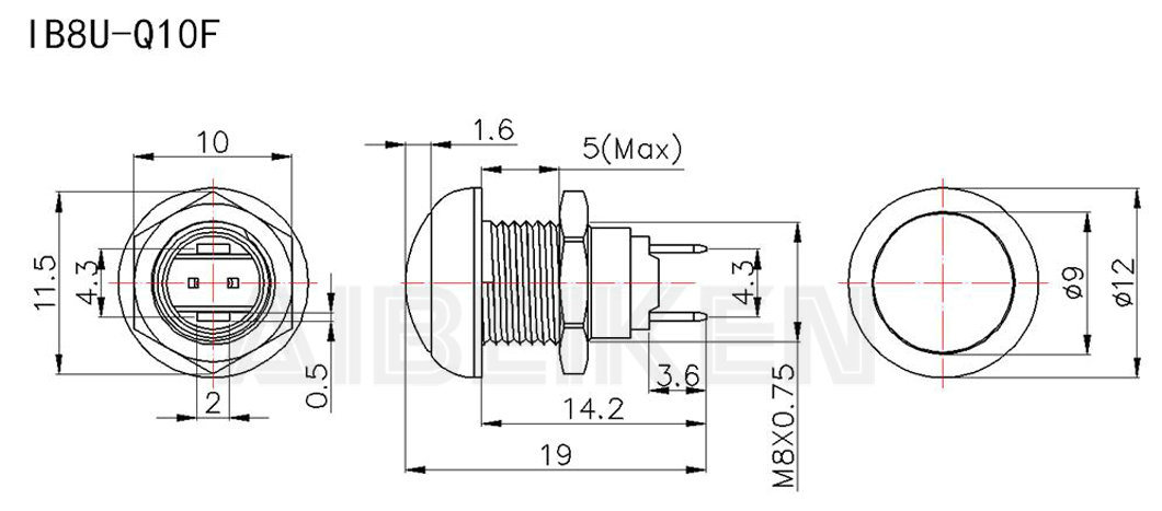 Menor Mini 1N 8mm Momentary Empurre o interruptor de botão