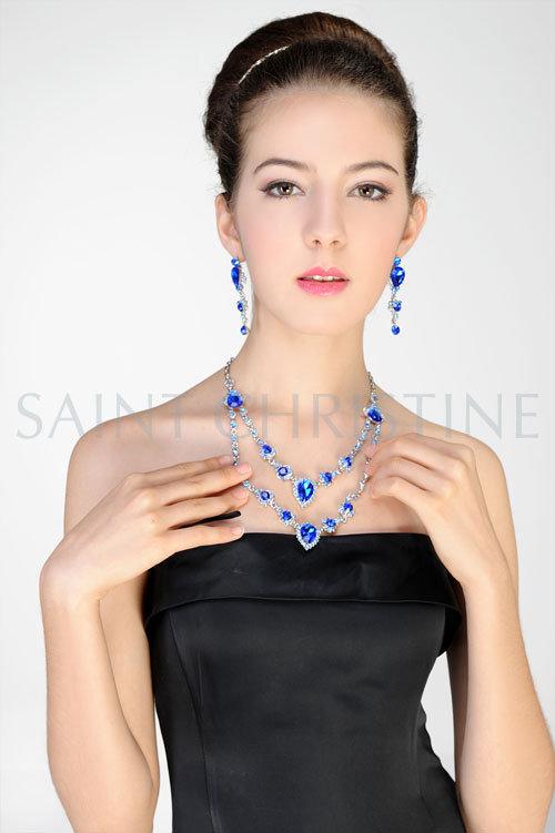 Двойной уровней Королевский синий Drop Crystal ожерелья и серьги, с серебристым цепь, бесплатная доставка