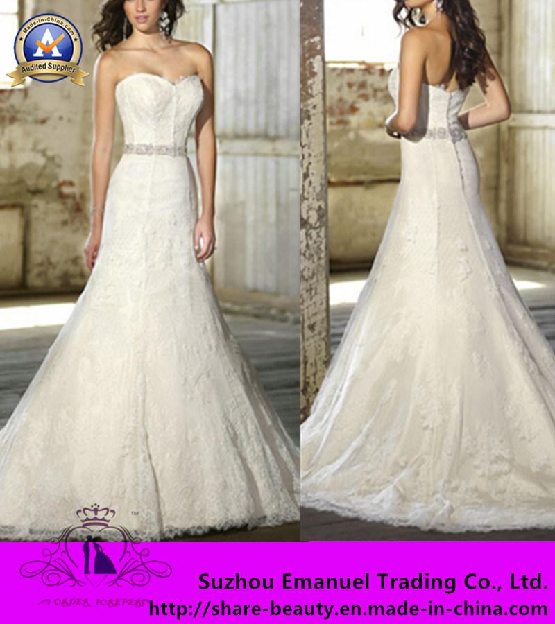 Venda por grosso de 2014 Novos vestidos de Casamento Satin Lace Cordão Sweetheart Mermaid Floor-Length Zipper Tribunal comboio (W029)