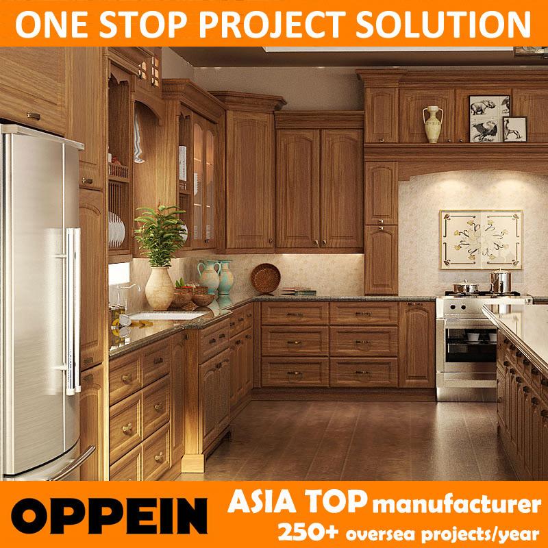 Oppein marrón tradicionales gabinetes de cocina de madera de roble ...