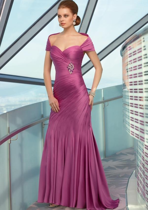 Una línea Chiffon Cap Sleeve Dress vestido de noche (8083) – Una ...