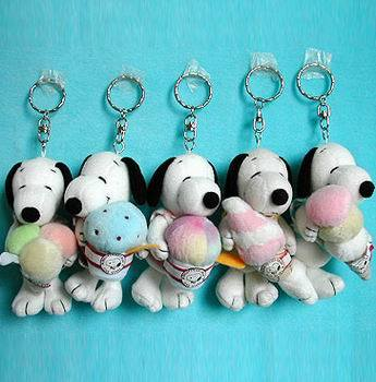 Catena chiave con Snoopy farcito