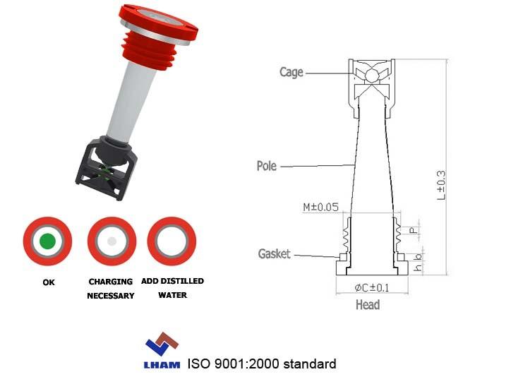 Parafuso com Cabeça de plástico do indicador de carga da bateria 2009A202 com 1 RÓTULA