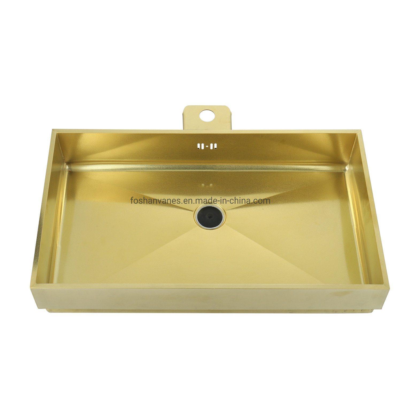 Handgemachte Luxuxqualitäts-goldene Edelstahl-Küche-Wanne Ls-6839