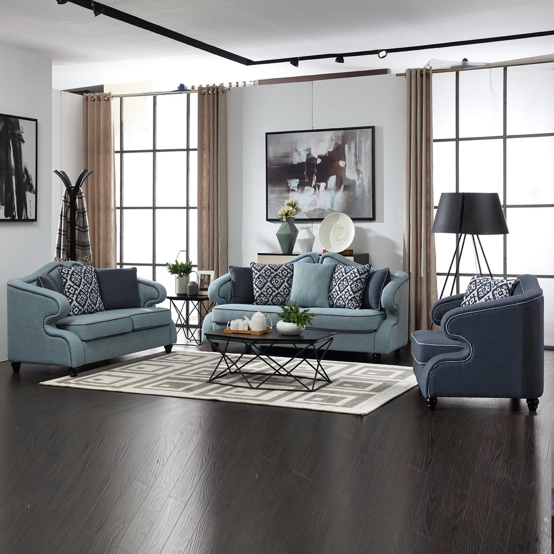 純木の足を搭載する居間の家具ファブリックソファー