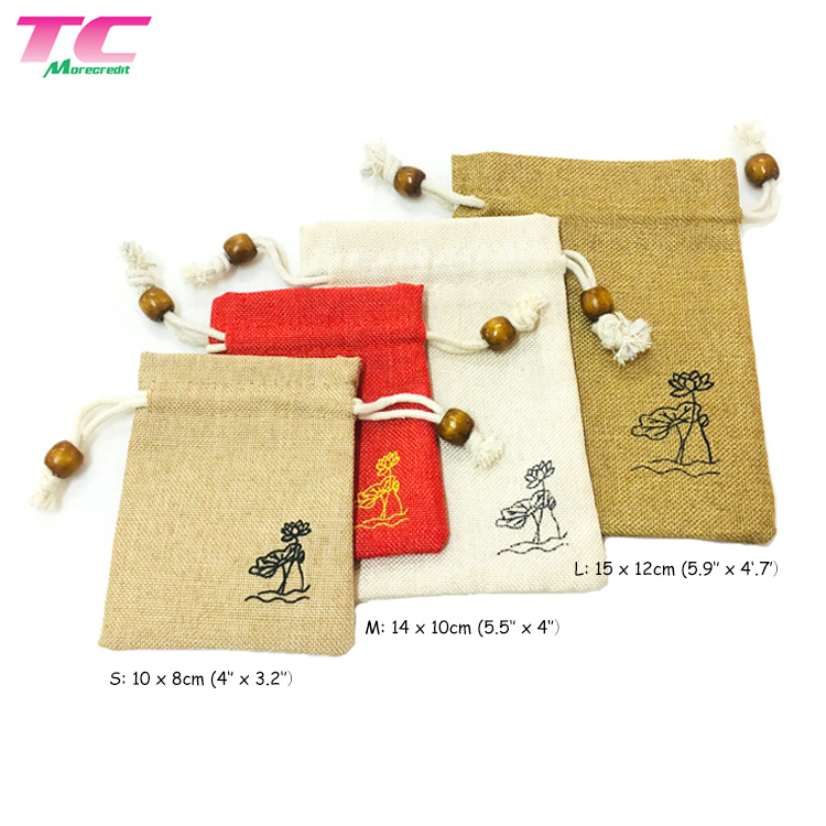 f1fccbf04 Los pequeños sacos de arpillera de yute, lino natural Cordón de cáñamo Bolsa  para promoción