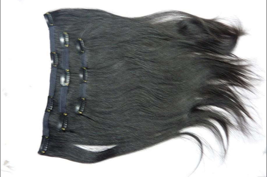 自然で黒いRemyのヘアークリップin/on延長