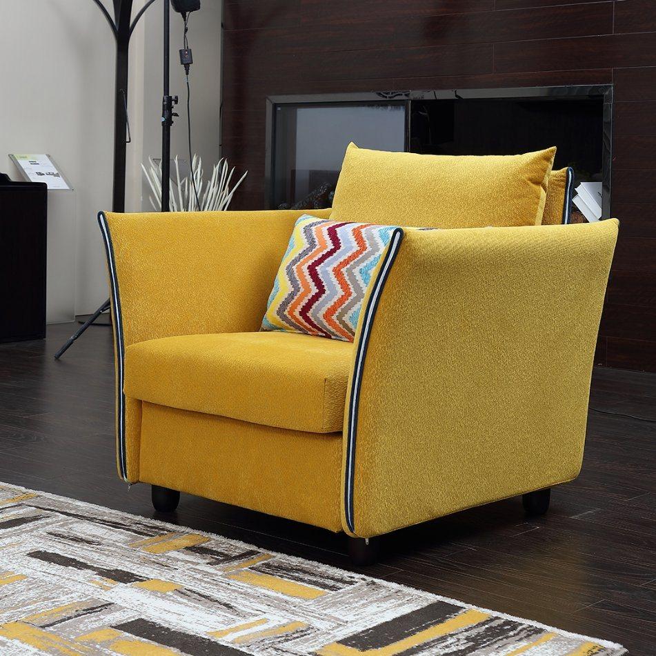 Diseño moderno amarillo un asiento sofá de tela para el hogar