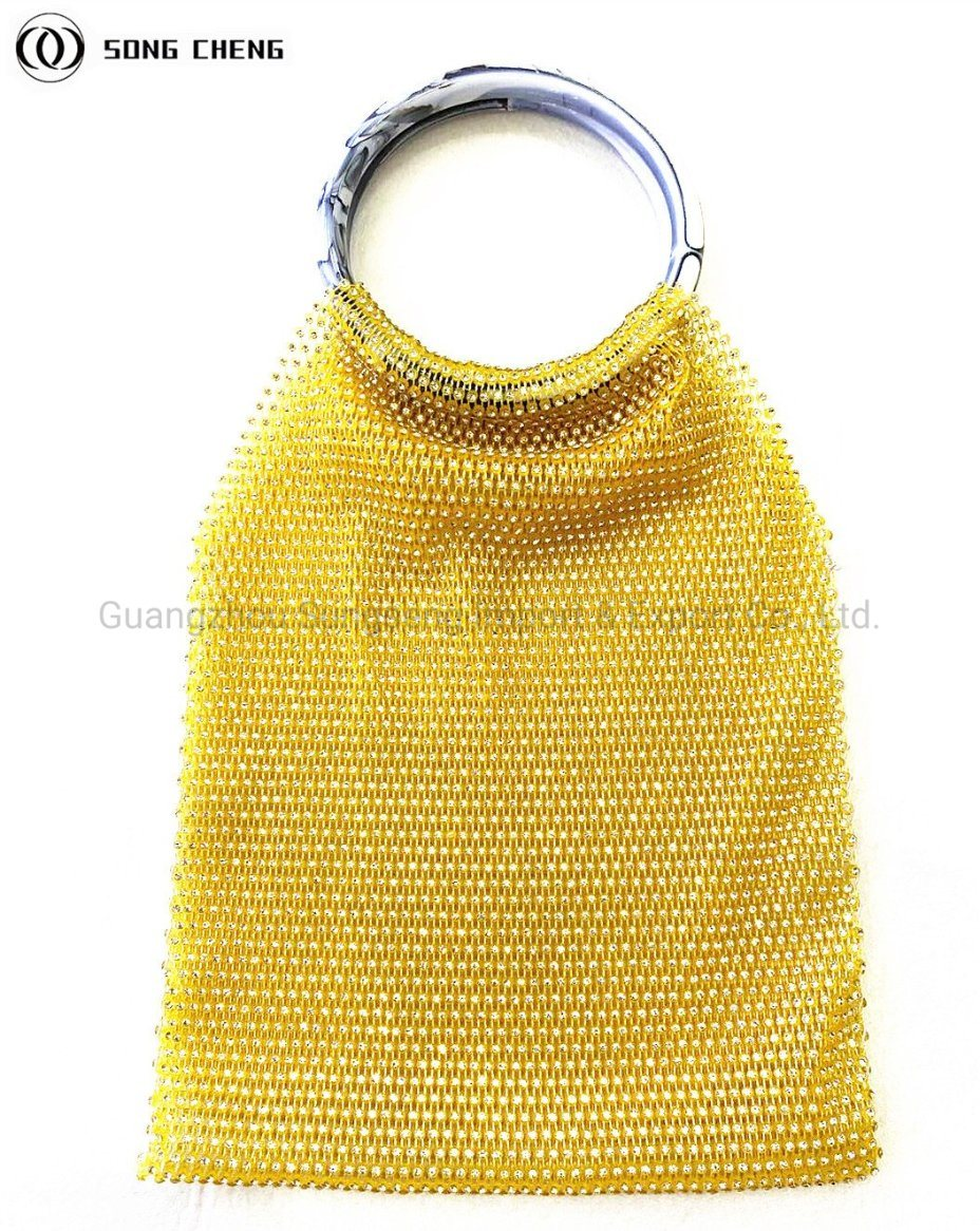 Rhinestone Mesh Diamond Handbags, 2020 nieuwe modieuze dames Handbags, Fashion Yellow