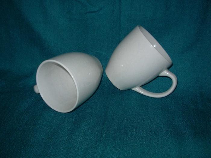 Tambour ordinaire blanc en forme de tasse de café en porcelaine céramique (WSY168M)