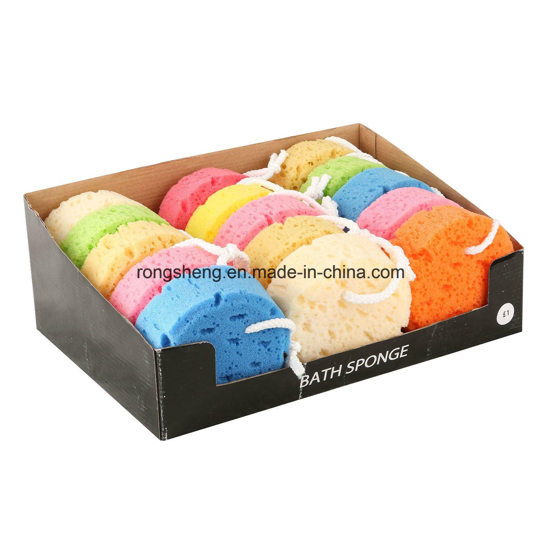 Шесть цвет раунда ванной губкой с дисплеем