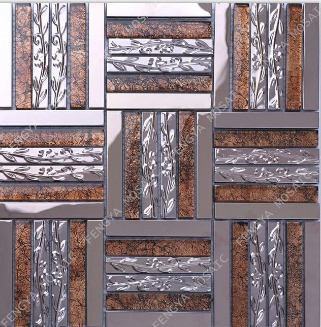Mosaico in acciaio inossidabile misto cristallo, mosaico a striscia lunga con foglia d'oro, famoso mosaico in metallo dal design nuovo