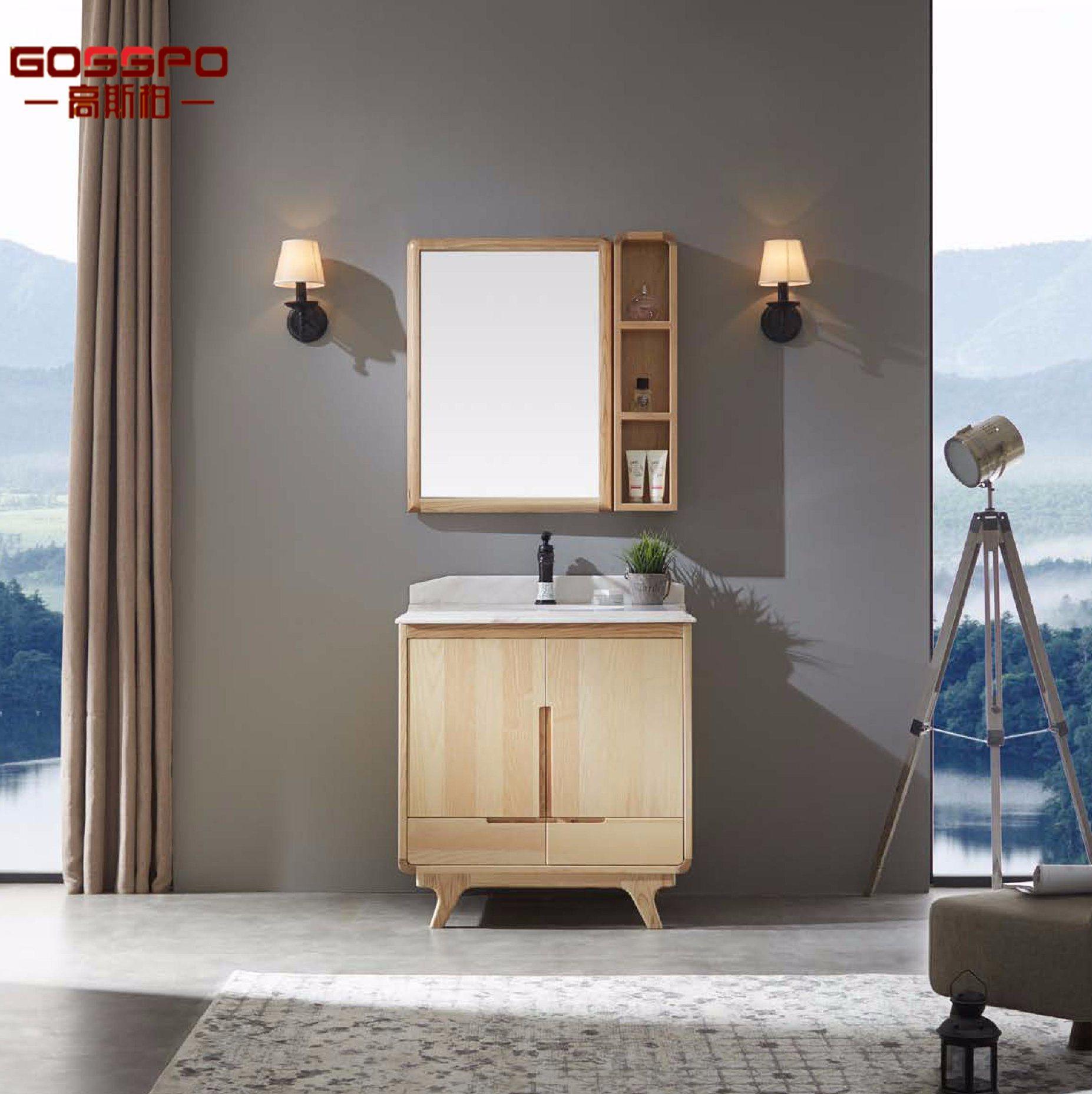 Armoire de salle de bain en bois autoportante rouge marron avec ...