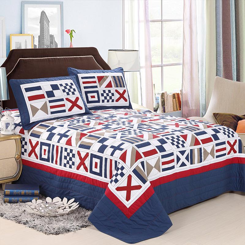 La tessile domestica con le casse del cuscino personalizzate ha prelavato l'insieme del Coverlet del copriletto imbottito assestamento Comfy durevole 3-Piece