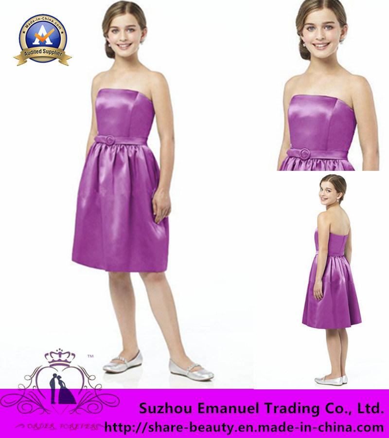 速い配達2014年タフタの後輩の新婦付添人の服、膝の長さのサッシュの甘いフラワー・ガールの服の