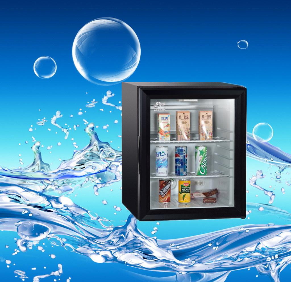 クリエイティブ吸収小型冷蔵ショーケースガラスドアホテルクーラードリンク
