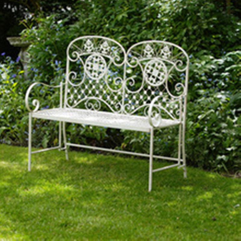 Hot Sale Pliage Banc De Jardin En Fer Forgé Blanc Photo Sur Frmade
