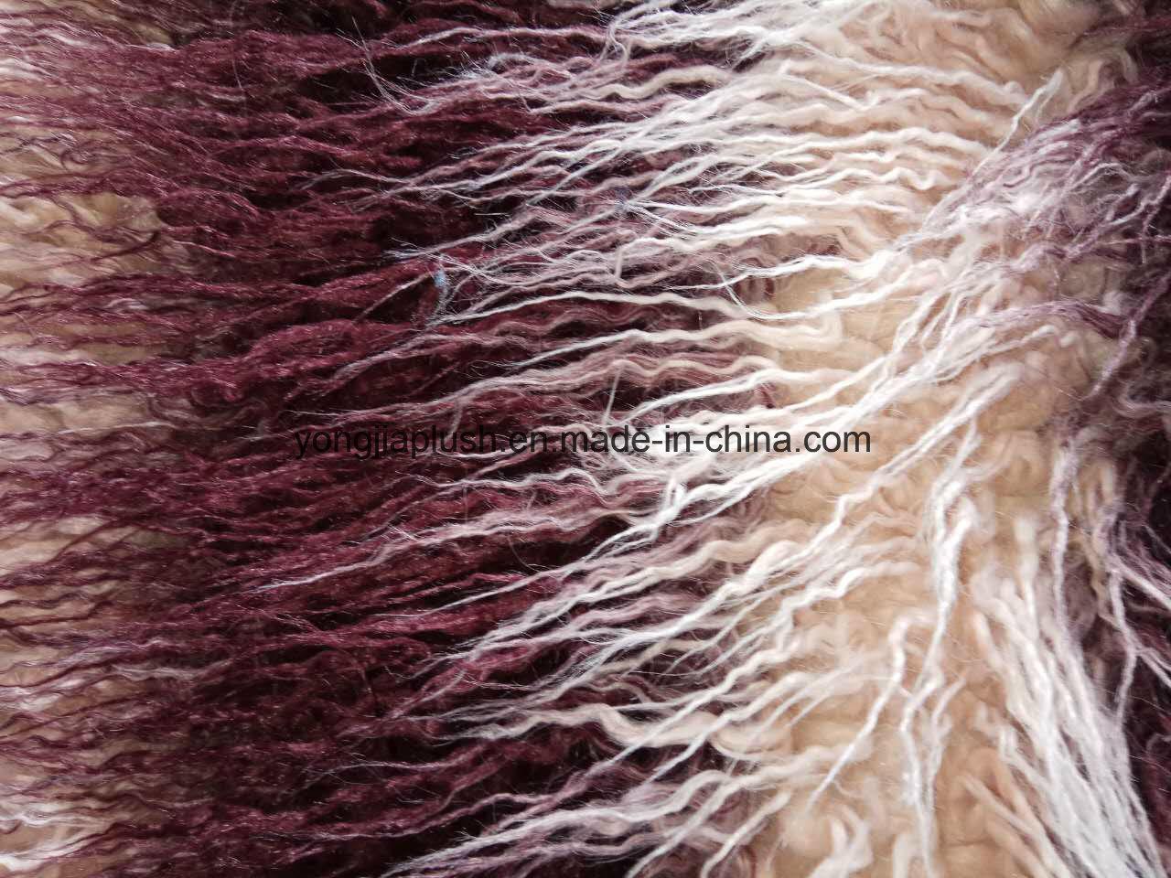 ワインレッドの杏子のジャカードモンゴル人の毛皮