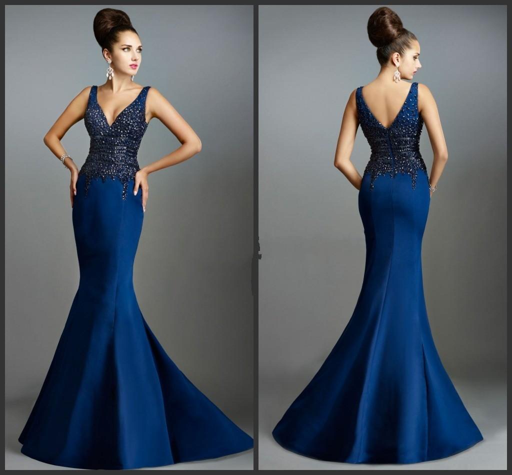 V-Ausschnitt blaues Partei Kleider Steine Abschlussball Abend Kleid ...