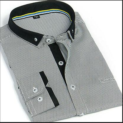 Anel Duplo de vestuário para homens camisa faixa / Button-Down Faixa Homens vestem a camisa