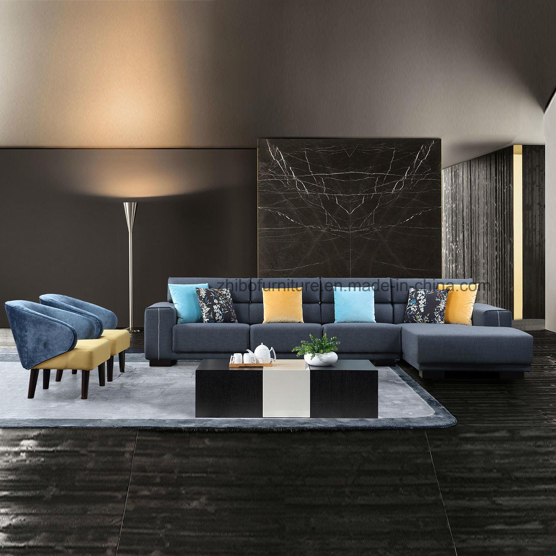 Sof d 39 angolo blu del tessuto della mobilia di disegno for Mobilia in inglese