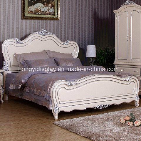 Estructura de madera de estilo rústico europeo Cama doble con diseño ...