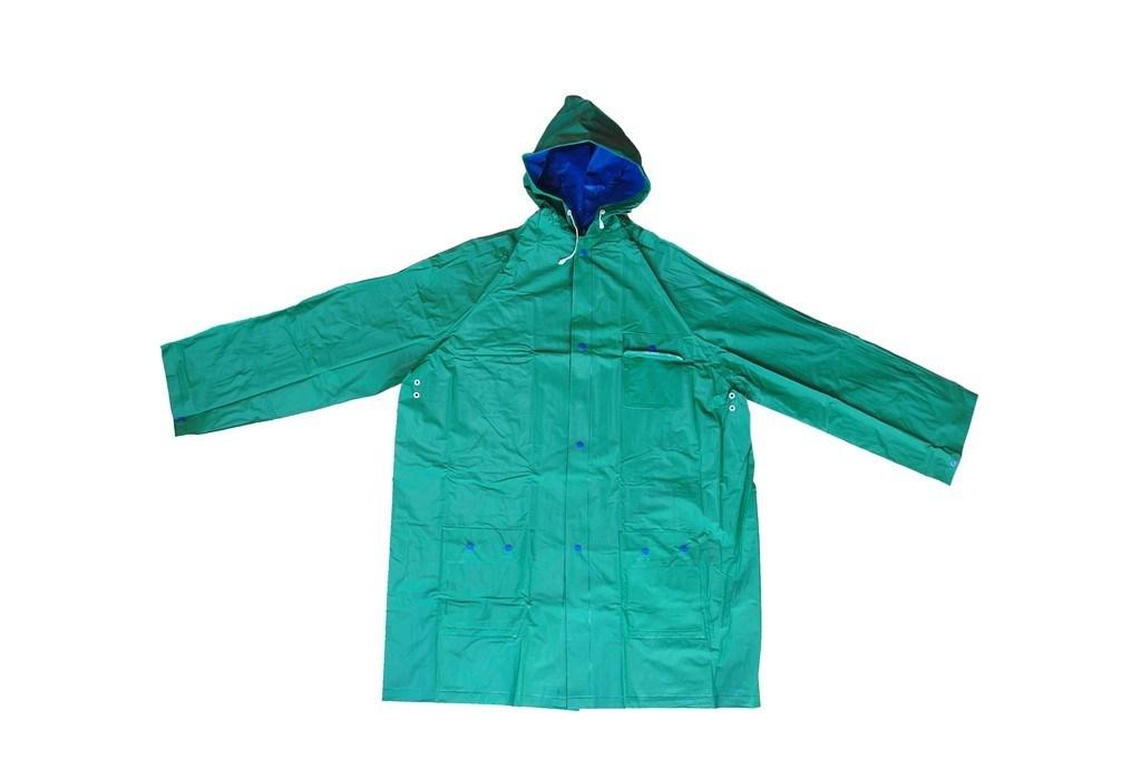R-1057-1 GreenおよびBlue Reversible PVC Vinyl Rain Best Waterproof Jacket
