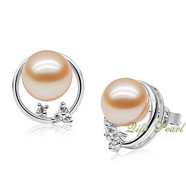 925 Silver Earring шпильки с 8.5-9мм жемчужина пресной воды и CZ (EA0707)